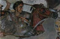 The mosaic (Pompeii, Italy) depicts Alexander the great at the battle of Issus, where he defeated the Persian army.